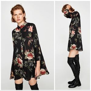 Zara Floral Mini Tunic Dress